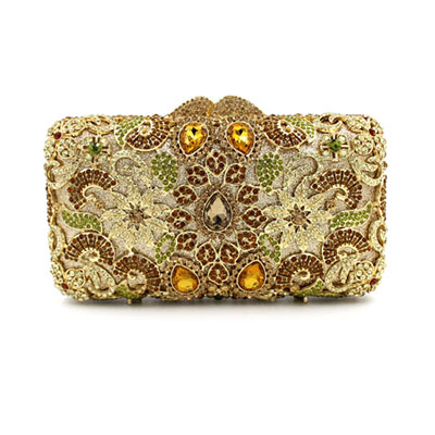 Hollow Diamonds wedding bridal floral clutch Purse Women Evening Bag Crystal Fashion Shoulder Bag Women Clutches Bag Lady Gift gold plating floral flower hollow out dazzling crystal women bag luxury brand clutches diamonds wedding evening clutch purse
