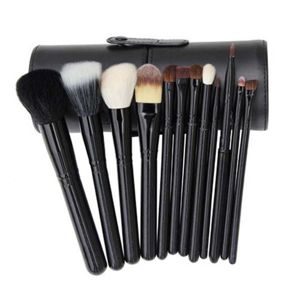 High quality 12pcs/set Beauty Makeup Brushes Pro Cosmetic Makeup Brush Set Make up Tool + Leather Cup Holder Kits makeup brushes set tool 18 15pcs brushes
