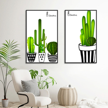 Watercolor Potted Cactus Nordic Canvas Painting Po