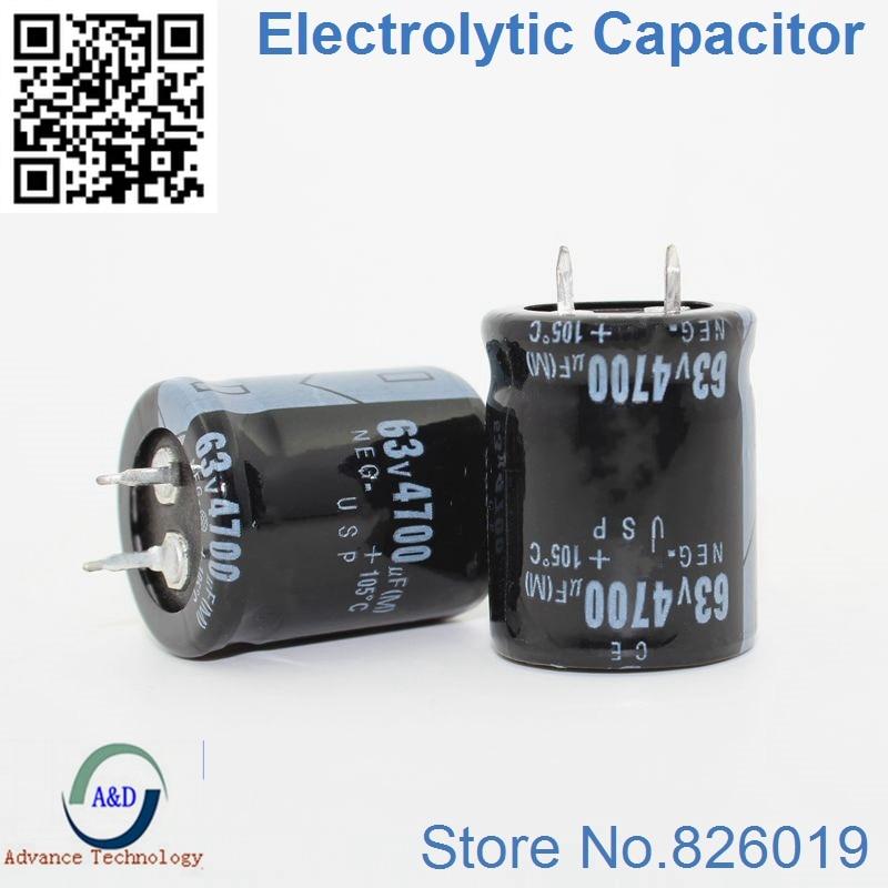 3pcs/lot 63V 4700UF Radial DIP Aluminum Electrolytic Capacitors Size 25*35/ 25*40 4700UF 63V Tolerance 20%