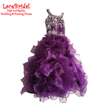 Real Arabic Luxury Ball Gown Rhinestone Beaded Quinceanera Dresses 2016 Ruffled Skirt for Weddings Kids Girl Pageant Dress BSF44