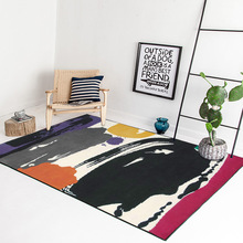 Modern watercolor graffiti art style bedroom rug Ink color block living room carpet velvet non slip floor mat bathroom doormat