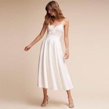 Simple Spaghetti Straps V-neck Chiffon Lace Vestidos De Novia Backless Tea Length A-line Beach Wedding Dresses Bridal Gowns
