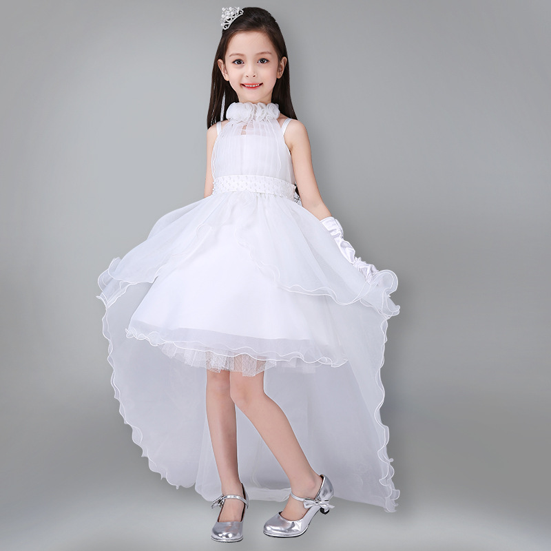Fashion Elegant Trailing Flower Wedding Girls Dress Pageant Kids Baby Infant Ball Gown Princess Communion Party Children Clothes jioromy big girls dress 2017 summer fashion flower lace knee high ball gown sleeveless baby children clothes infant party dress