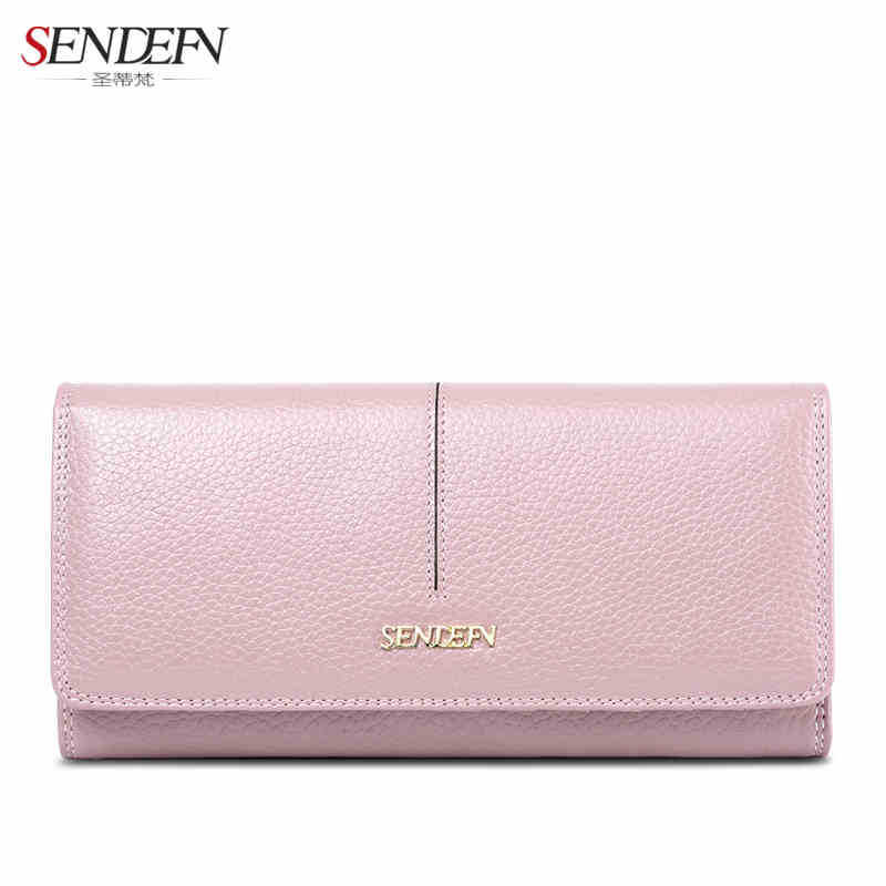2017 Female Wallet Fashion Genuine Leather Purses Solid Women Wallet Women Long Hasp Wallets Clutch Card Holder Phone Pocket casual weaving design card holder handbag hasp wallet for women