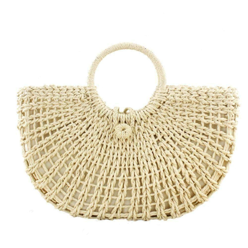 Women Handbag Bucket Totes Shoulder-Bags Fashion Summer Ladies Straw Solid Large-Capacity