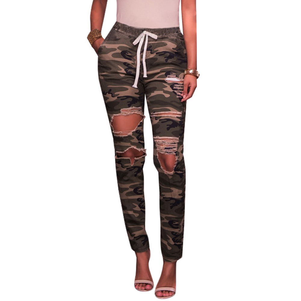 где купить Plus Size Camo Hole Ripped Jeans Women Elastic High Waist Camouflage Jeans Slim Pencil Denim Pants Skinny Jeans Female Trousers по лучшей цене