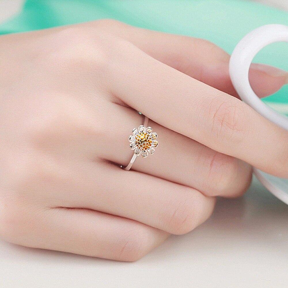 KAMEIER European fashion Small fresh open Daisy flowers rings for ...
