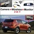 3 in1 Especial Câmera de Visão Traseira Sem Fio + Receptor + Espelho Monitor de DIY Fácil Sistema de Back Up de Estacionamento Para KIA Sportage R 2011 ~ 2015