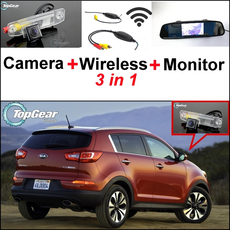 3 in1 Special Rear View Camera + Wireless Receiver + Mirror Monitor Easy DIY Back Up Parking System For KIA Sportage R 2011~2015 for ford escape maverick mariner car parking sensors rear view back up camera 2 in 1 visual alarm parking system