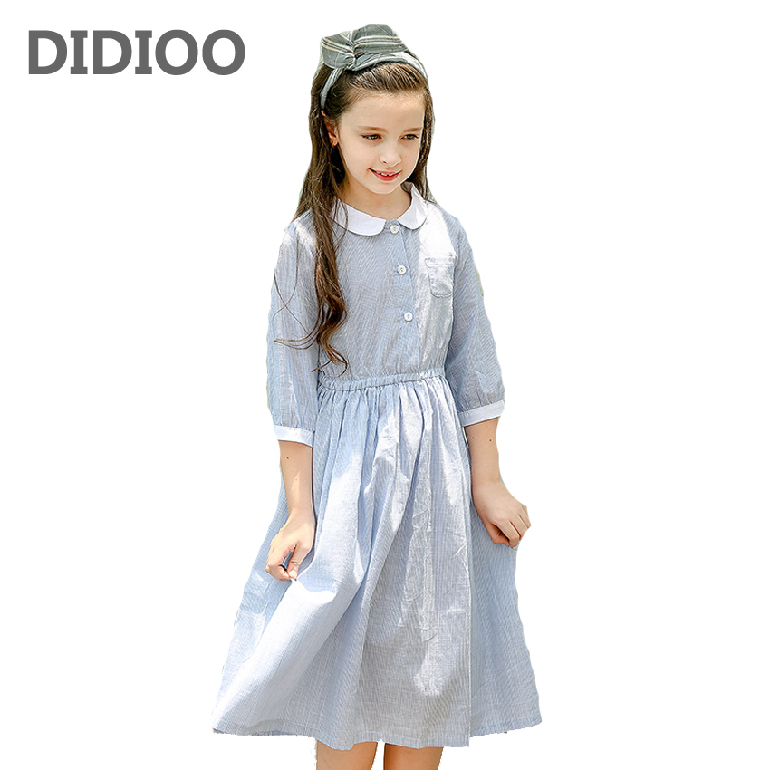 Kids Dresses For Girls Preppy Style Striped Girls Dresses Cotton Peter Pan Collar Long Dress Girls Blouses School Girls Shirts stylish peter pan collar color block striped dress for girls