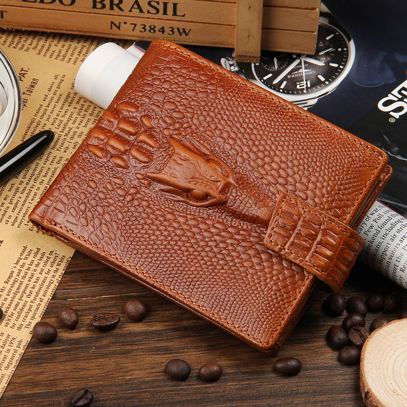 2016 New arrival brand short crocodile men's wallet,Genuine leather quality guarantee purse for male,coin purse, free shipping серьги