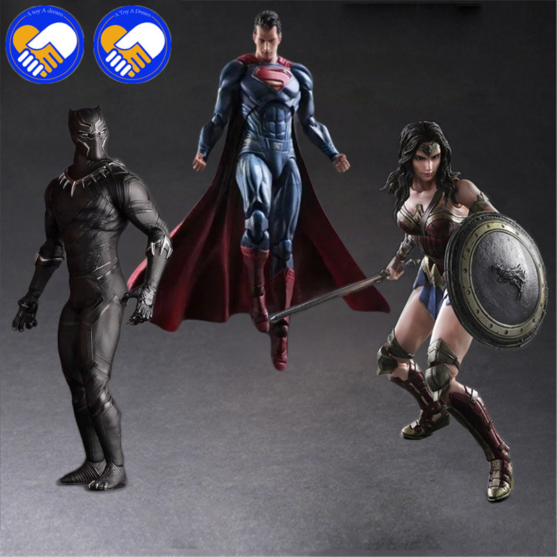 Play Arts Dark Of Justice Spiderman Wonder Girl Woman Black Panther PA Kai PVC Action Figure Doll Toys Kids Gift Brinquedos