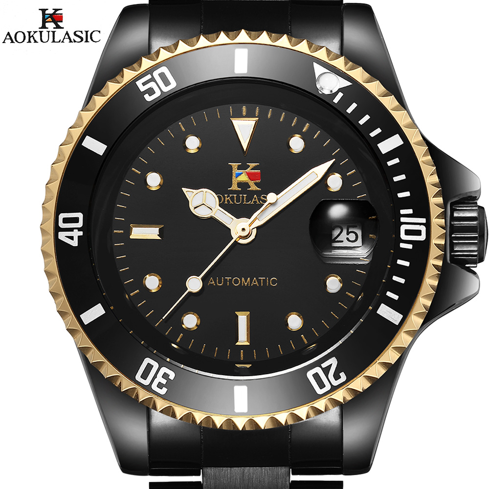 AOKULASIC Mechanical Watch Men Auto Date Men Top Brand Luxury Sport Automatic Watch Men Stainless Steel Men Army Military Watch hot 2016 carnival luxury brand sport men automatic skeleton watch mechanical military watch men full steel stainless band reloje