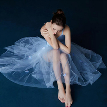 Ballerina Ballet Swan Lake Mesh Lace Applique Flower Pearl Beading Sky Blue Tulle Adults Dance Long Skirt Bodysuit Leotard Dress