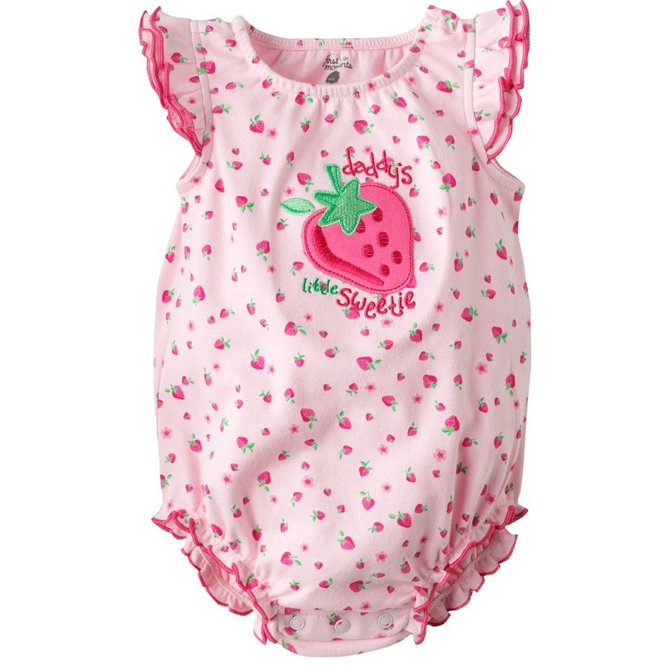 Strawberry Baby Girls Bodysuits Pink Tops Newborn