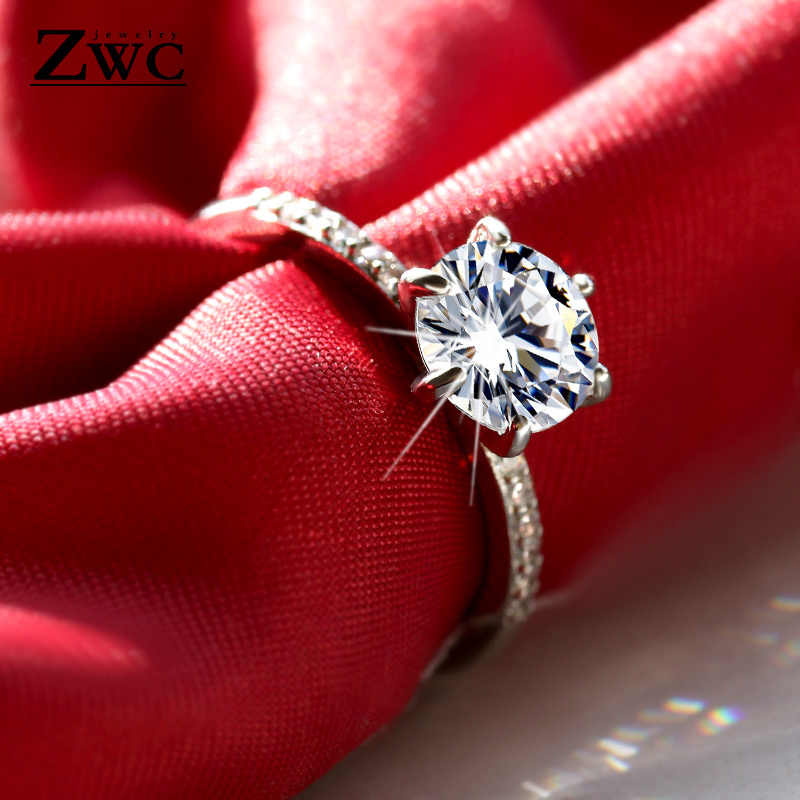 ZWC Classic Luxury 6 Claws Design AAA Cubic Zircon Engagement Ring for Women and Girl Party Fashion Crystal Rings 2019 Jewelry