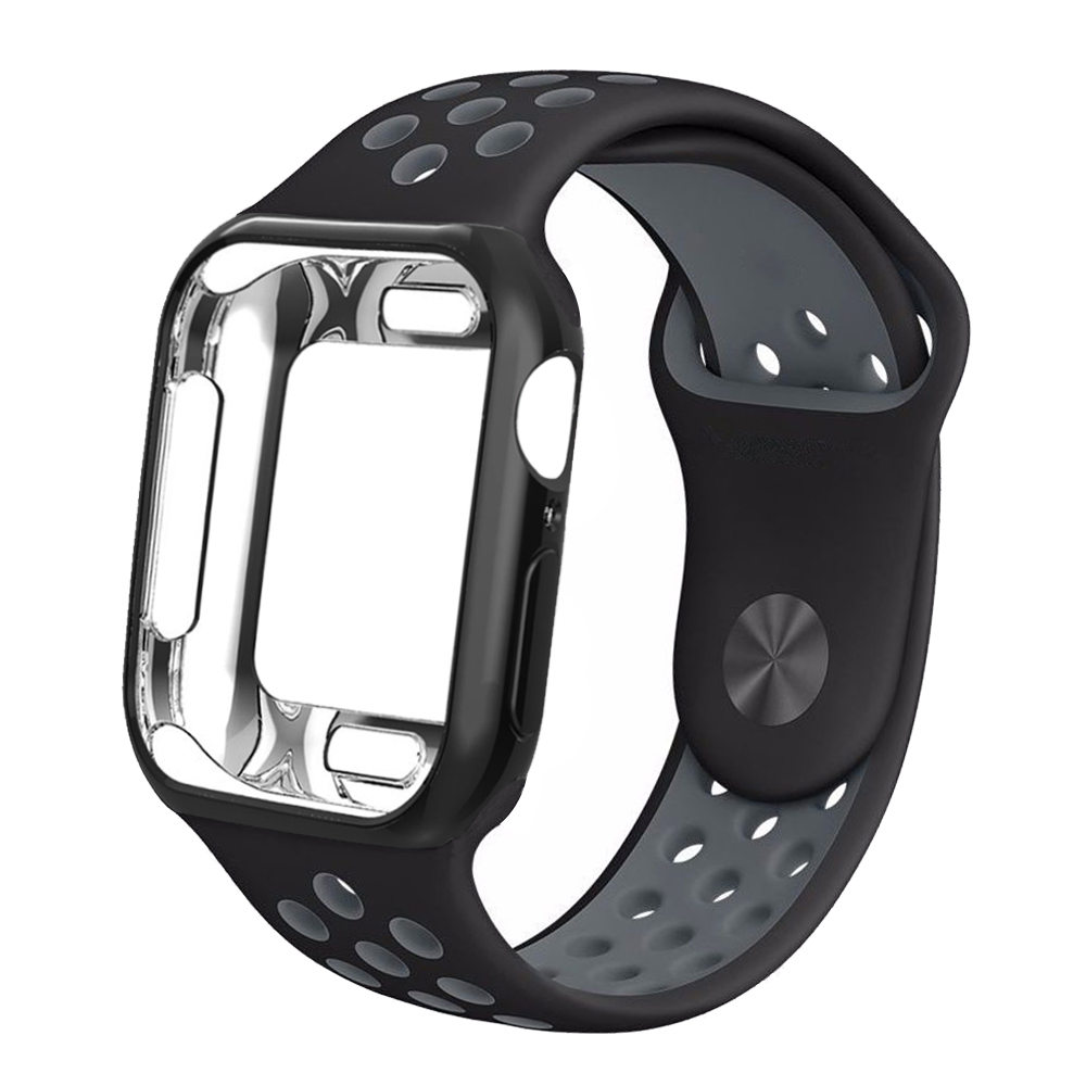 EIMO Case bumper For Apple Watch band 42mm 38mm iwatch band 44mm/40mm Silicone strap bracelet series 4 3 2 1 watch Accessories image