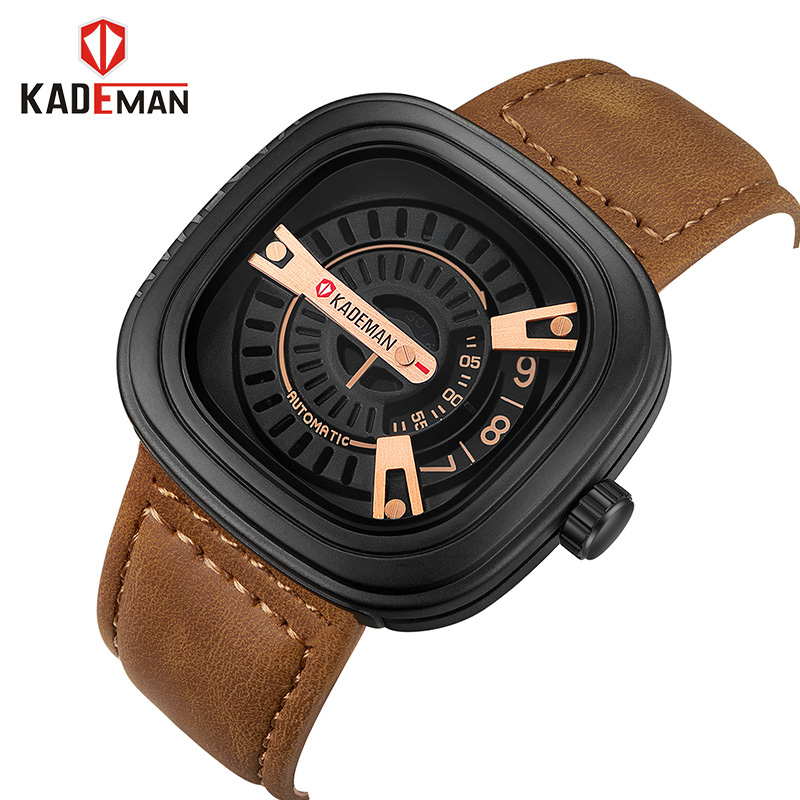 KADEMAN Men Watches Fashion Luxury Brand Quartz Analog Male Sports Watch Waterproof Clock Leather Wristwatches Relogio Masculino