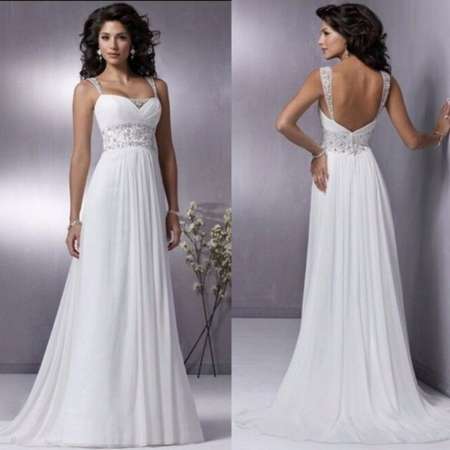 2016 Beach Modest Bridal Dresses Actual Image Sexy Backless Spaghetti Strap Beading Wedding Dress Spaghetti Strap Bridal Gowns