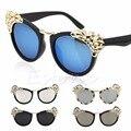 Para mujer gafas de sol de moda cat eye rhinestone hojas gafas de lentes de espejo 2017