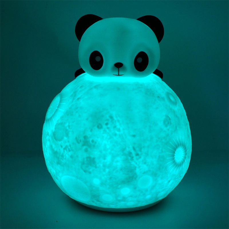 3D Moon light Silicone Touch Sensor Remote LED Night Light Colorful Cartoon Panda style decorative lamp Children Baby Kids gifts 3d moon light touch sensor remote control bedroom novelty night light moon lamp luminaria led for baby kids christmas