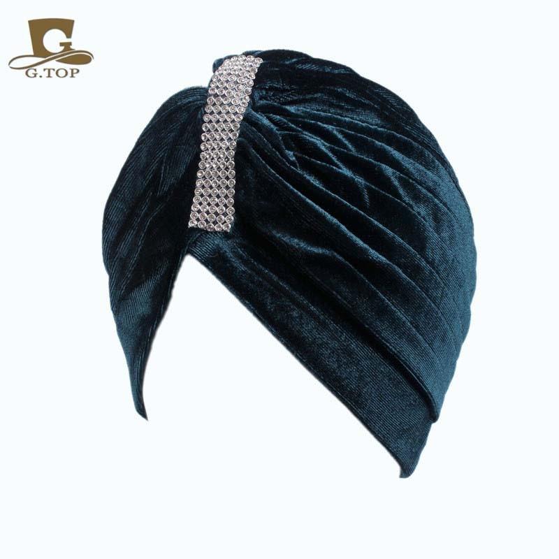 2017 new fashion luxury Women Jewel Accessory luxury beads silver rhinestone  Soft Velvet Turban Headband Beanie 5dd22bc0f5a8