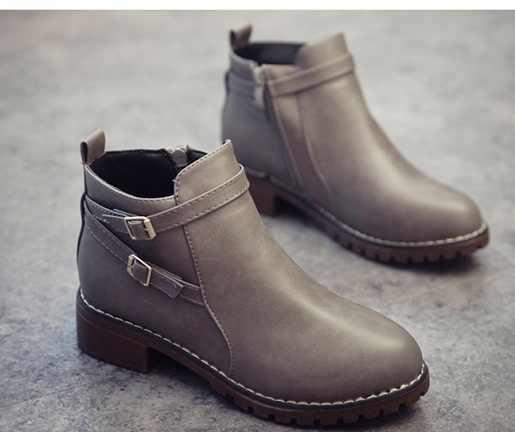 2017 heißer neue Herbst Frauen Stiefeletten Mode Flache Slip-on PU Leder SCHWARZ GRAU Stiefel Solide Frühling Schuhe frau Größe 35-40