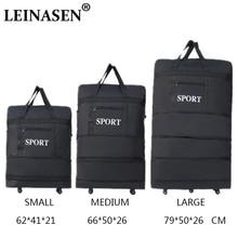 2018 LEINASEN al por mayor ultraligero bolsa de viaje de equipaje de gran capacidad universal ruedas retráctiles plegables caja de remolque