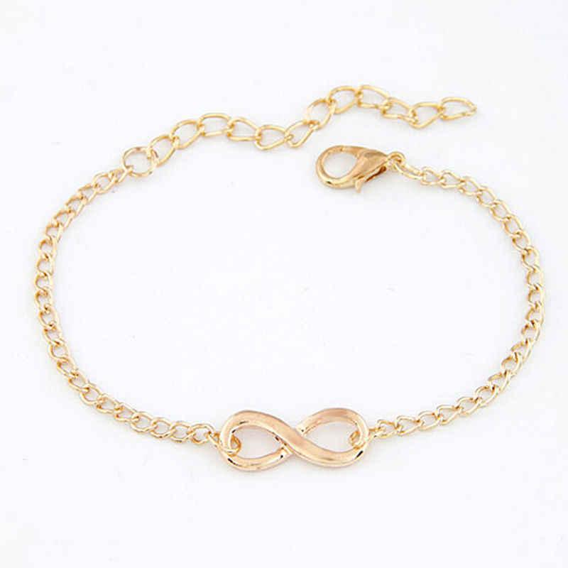 Popular chapeamento de ouro metal cruz infinito pulseira & bangle charme corrente pulseiras jóias para mulher alta qualidade
