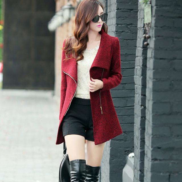 New Europe 2017 Autumn Winter Women's Temperament Woolen Jackets Coats Female Casual Clothing Fashion Women Slim Jackets Coats