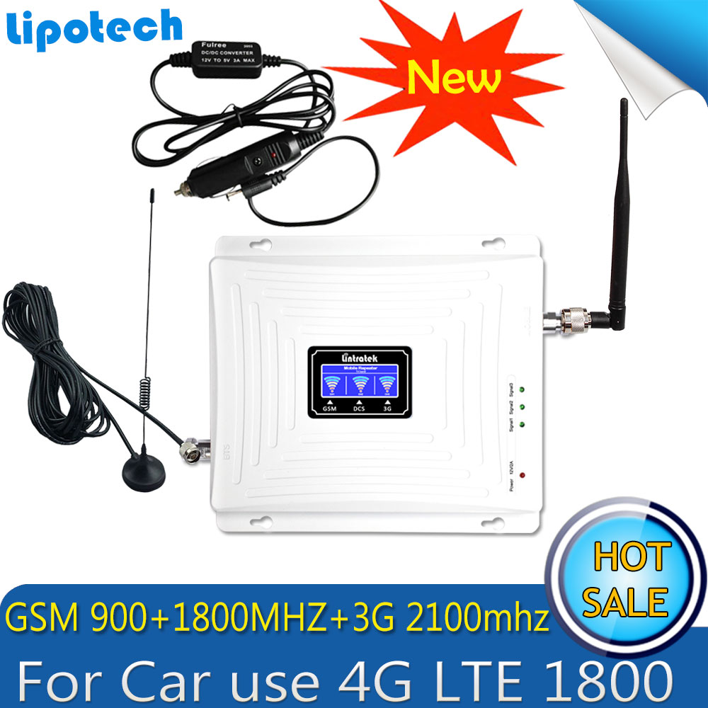 Car Use Repetidor Tri Band GSM 900 WCDMA 2100 LTE 1800 2G 3G 4G Signal Booster Cellphone Cellular GSM Signal Repeater Amplifier