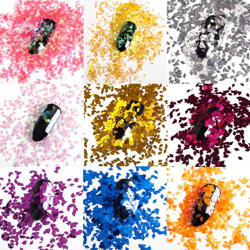 1Box Nail Art Sequins 11 Colors Rhombus Aurora Shining Manicure Decals 3D Charms Glitter Plastic Sheet For DIY Nail BG151-BG161