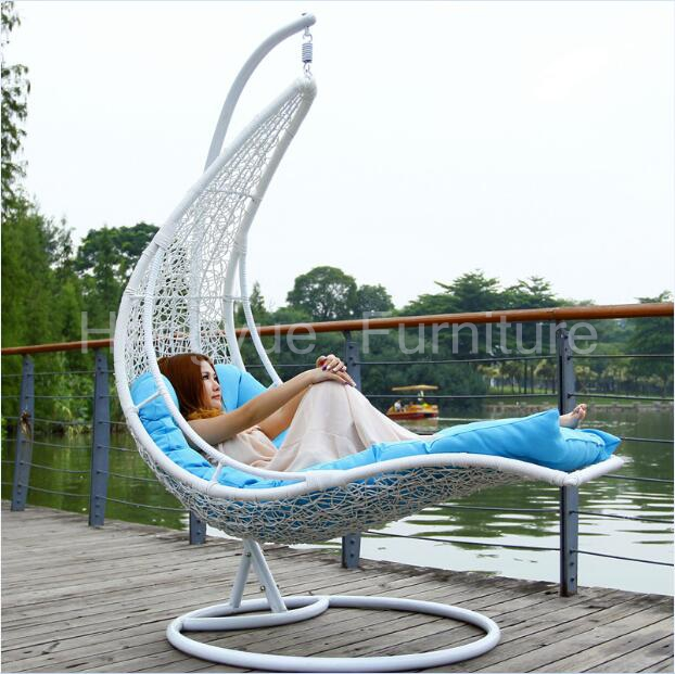 Amazing Hanging Rattan Chair Bed Furniture With Cushions