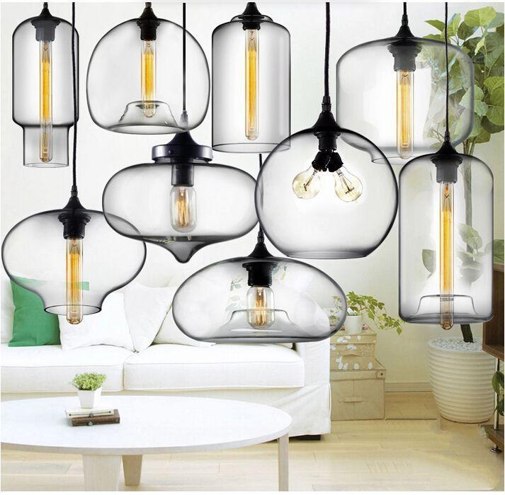 Hot Sale Modern Glass Pendant Lights Hanging Lamps Glass Shade Spray  Painting With Edison Bulb Lighting Fixture 110V 240V