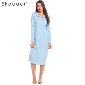 Image 2 - Ekouaer 캐주얼 잠옷 여성 긴 소매 잠옷 후드 긴 Nightdress 가을 Sleepdress 느슨한 솔리드 잠옷 가정 의류