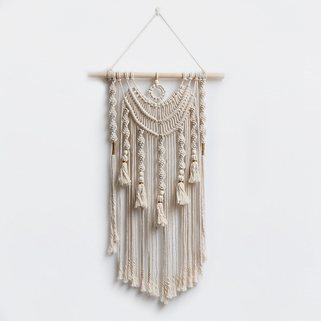 White Wall Hanging Living Room Decor Macrame Wall Art