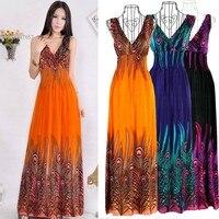 New Women's Bohemian Peacock Tail Dress Hawaiian V-neck Long Beach Dress Sundress Summer 36