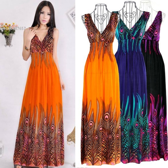 def1d40afb4 New Women s Bohemian Peacock Tail Dress Hawaiian V-neck Long Beach Dress  Sundress Summer 36