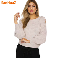 SanHuaZ Brand 2017 Autumn Winter Women S Sweaters Casual Fashion O Neck Long Sleeve Hollow Out