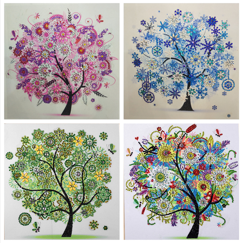 Diamond Embroidery Four Seasons Trees Picture Special Shaped Diamond Painting Needlework Rhinestone 5d Cross Stitch Home Decor