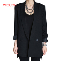 Black Solid Long Style Autumn Women Jacket Blazers Female Notched Collar Workwear Office Ladies Blazers Feminino Formal Blazers