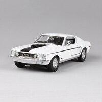 1/18 Ford Mustang GT 1966 Muscle Car Azul/Branco Liga de Zinco Modelo de Carro Diecast para Coleção Presentes Meninos Brinquedos