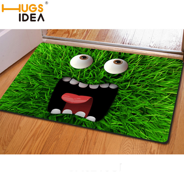HUGSIDEA 3D Emoji Green Grass Carpet For Living Room Non
