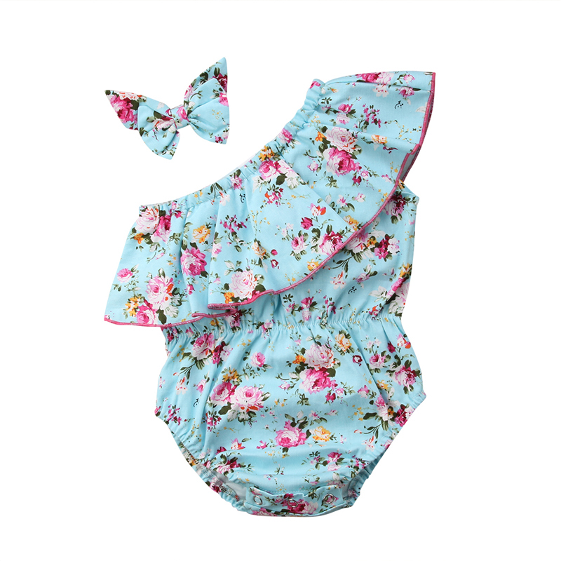 Hot Summer Baby Girl   Rompers   Newborn Baby Clothes Toddler One Shoulder Ruffle Floral   Romper   Jumpsuit with Headband One-Pieces