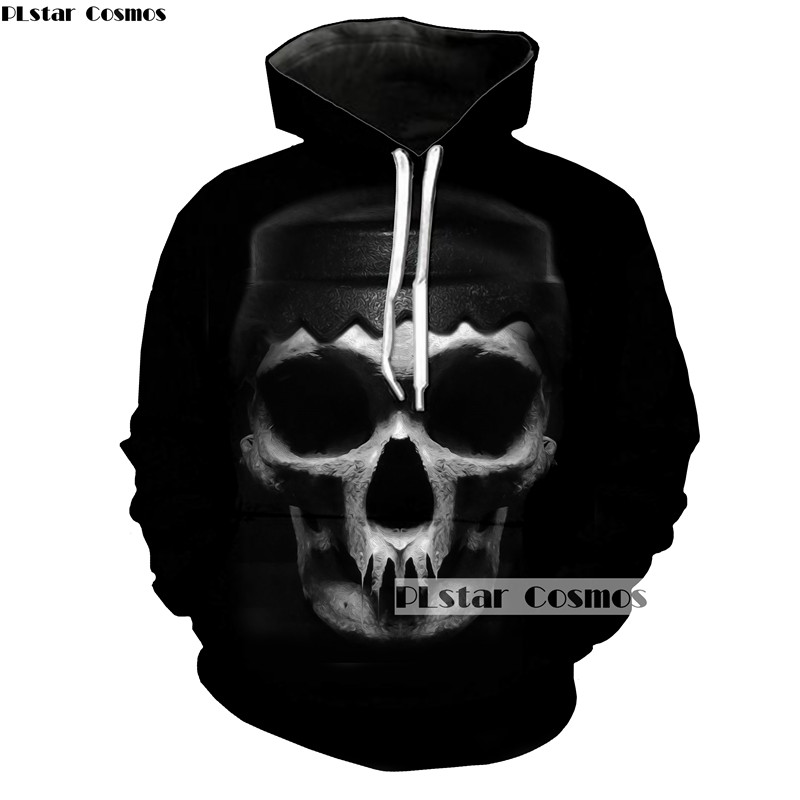 PLstar Cosmos hooded Fashion Men/women hoodies Skull 3d Printed Harajuku Streetwear Womens Sweatshirts Coats Tracksuits