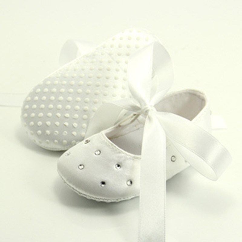 Spring Summer Toddler Baby Prewalker Rhinestone Ribbon Bowknot Cute Infants Princess Shoes Pure White Christening Shoes