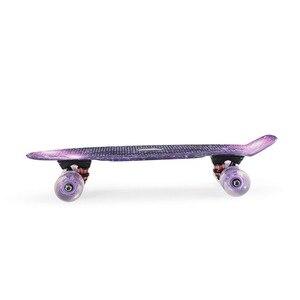"Image 4 - Grafik Gedruckt Skateboard Galaxy Lila Blau Kunststoff Mini Cruiser Board 22 ""X 6"" Retro Longboard Skate Bord"
