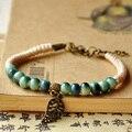 Leaf Charm Weave Rope Bracelets Women Men Ceramic Beads Adjustable Wristbands Link Chain Cuff Bangle Bohemian Leaves Jewelry