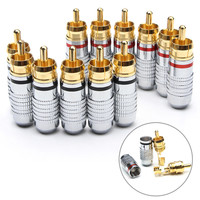 12PCS Double Self Locking Banana Plugs Gold Plated Copper Female Connectors Amplifier Audio Cable Wire Speaker Adapters Set